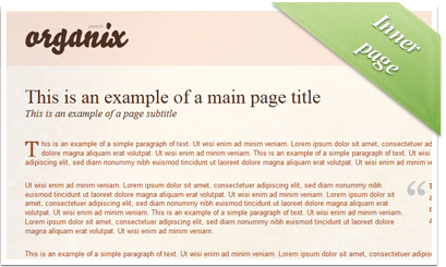 Organix - Peach / Static inner page